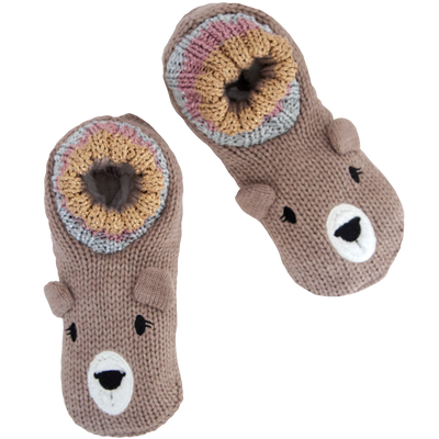 Women's Cozy Knit Slipper Socks with Bear Face and Sherpa Lining