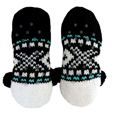 Women's Cozy Knit Slipper Socks with Panda Face and Sherpa Lining