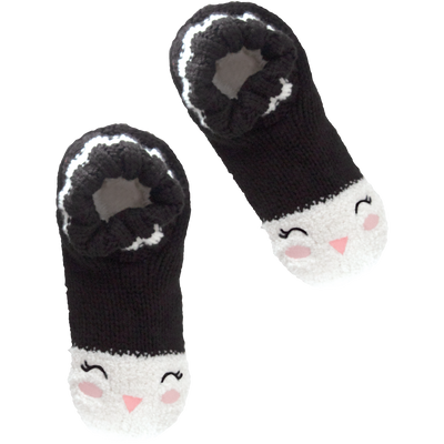 Women's Cozy Holiday Knit Slipper Socks with Penguin Face and Sherpa Lining
