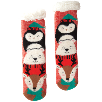 Women's Holiday Critter Slipper Socks with Sherpa Lining