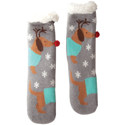 Women's Ru-Dox Holiday Slipper Socks with Sherpa Lining