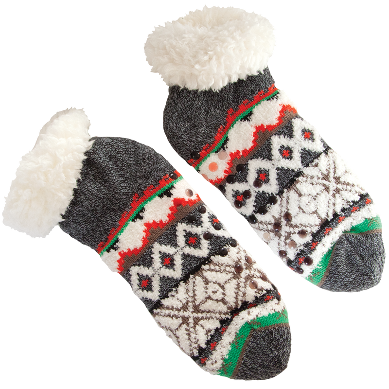 Women's Cozy Holiday Kint Slipper Socks with Sherpa Lining