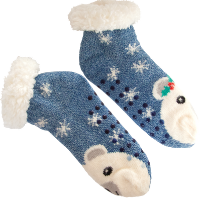 Women's Cozy Polar Bear Holiday Knit Slipper Socks with Sherpa Lining