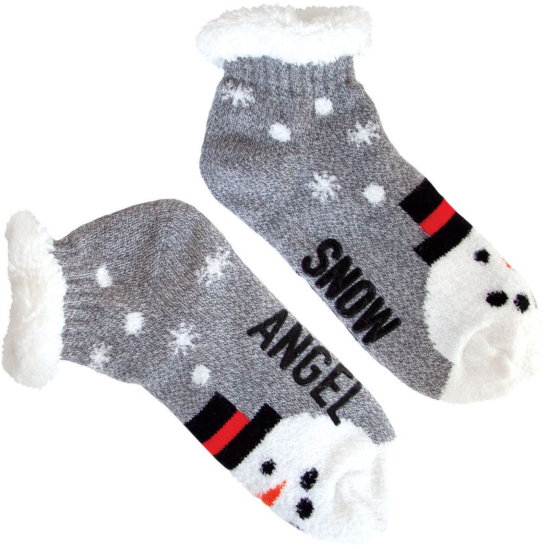 Women's Snow Angel Family Slipper Socks with Sherpa Lining