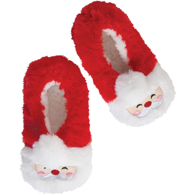 Kids Furry Santa Holiday Slipper Socks
