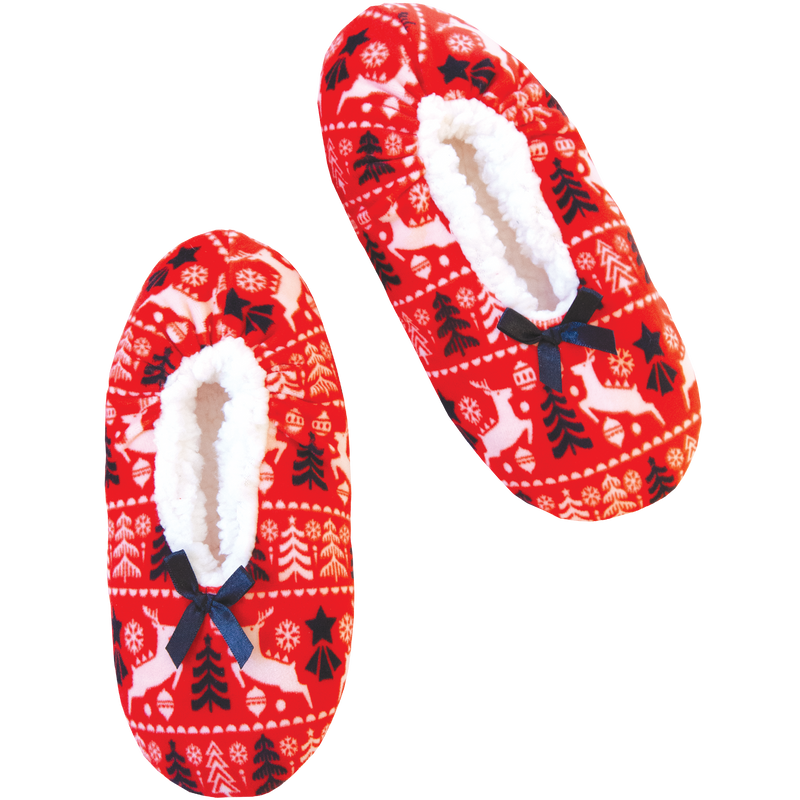 Women's Holiday Spirit Print Stretchy Slipper Socks