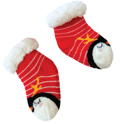 Kids Holiday Penguin Slipper Socks with Sherpa Lining - 2 pk