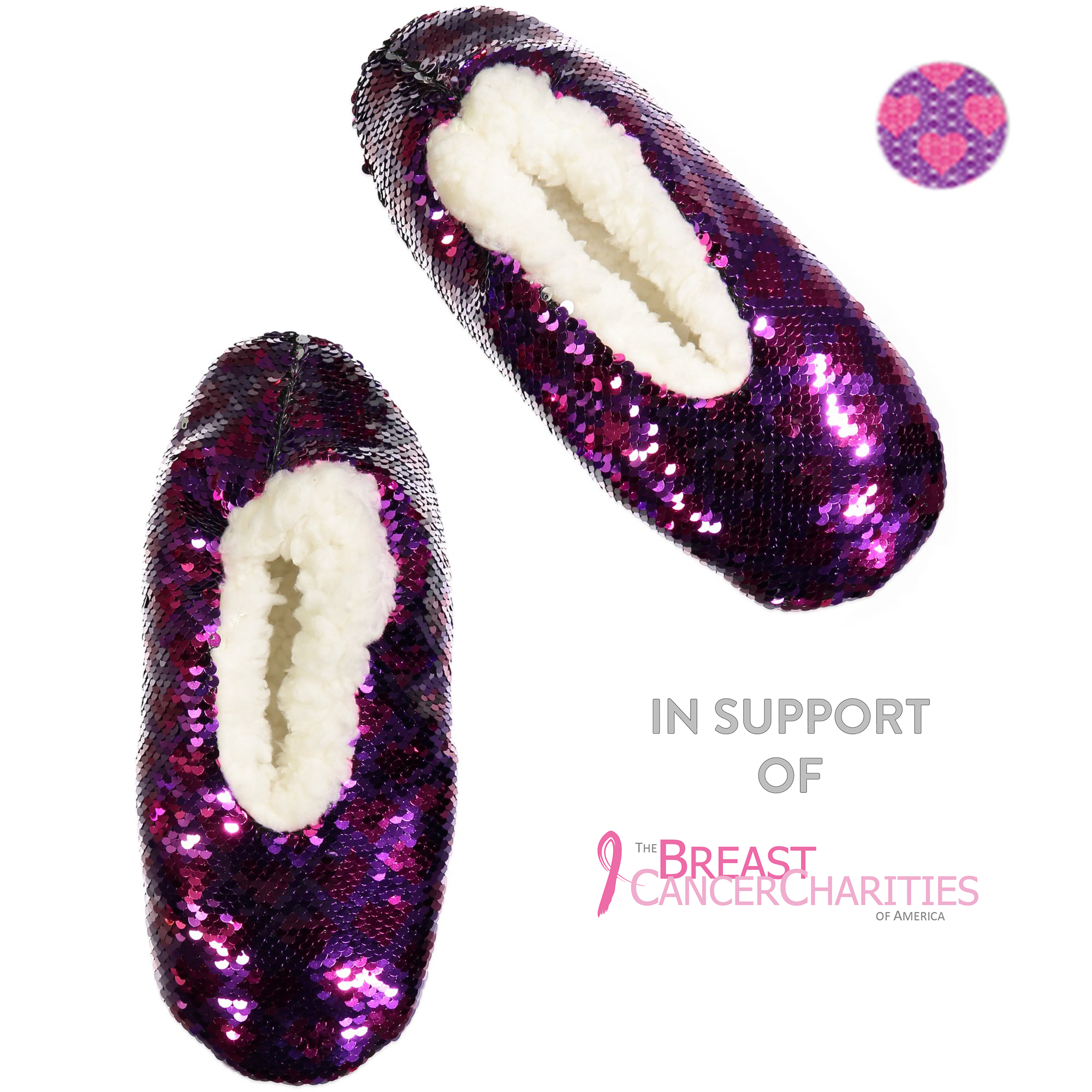 Women's Comfort and Love Sequin Slipper Sock