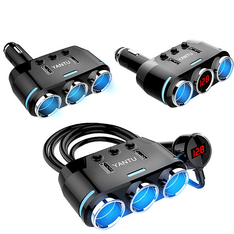 Dual USB Port 3 Way Auto Car Cigarette Lighter Socket Splitter Charger Plug Adapter DC 5V 1A+2.1A For All Phone PC Ipad