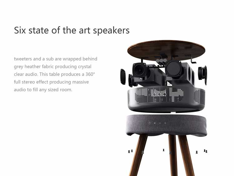 Smart Table with Built in 360° Bluetooth Speaker and Wireless Qi Charger