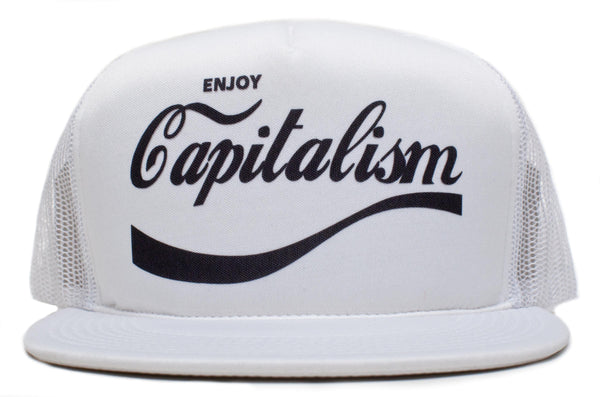 Retro ENJOY CAPITALISM Trucker Baseball Snapback Hat Cap