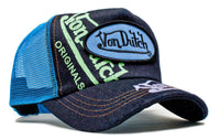 Von Dutch Paint Blue Mesh Blue Denim Truckers Cap Hat Snapback