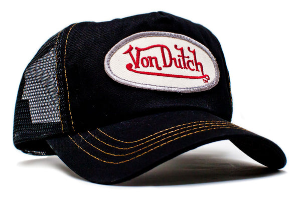 Von Dutch Black Mesh Black Twill Truckers Hat Cap Snap Back