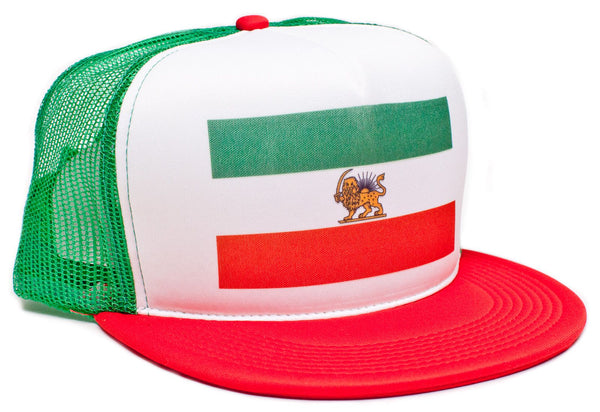 Iranian Iran Persia Persian Shah Flag Hat Baseball Cap Truckers Snapback Green/Red