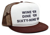 WINE 'em DINE SIXTY-NINE 69 Dumb and Dumber Sea-bass Hat Cap Flat Bill Brown