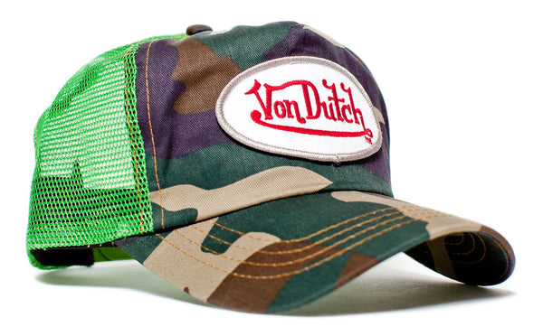 Von Dutch Originals Lime Camo Hat Vintage (2005) Snapback