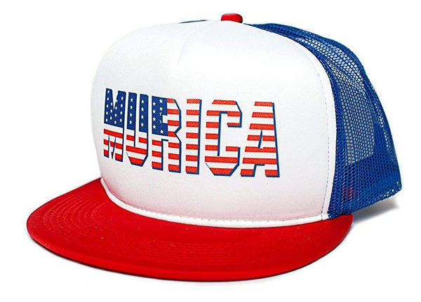 MURICA FOURTH OF JULY USA 4th FLAT BILL Unisex-Adult One Size Trucker Hat
