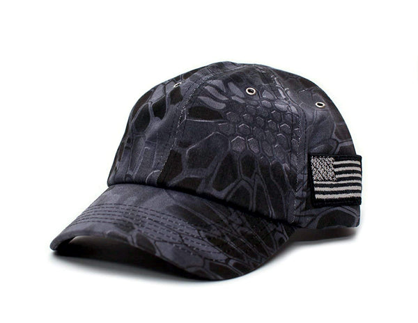 Posse Comitatus Tactical Camo Hat Tonal Side American Flag Unisex Dad Cap
