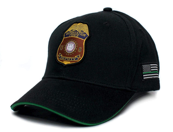 US Deportation Force Donald Trump Thin Green Line Hat Cap Black