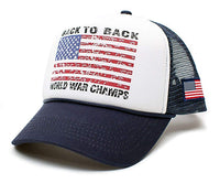 Back To Back World War Champs Unisex-Adult Cap -One-Size Navy/White/Navy