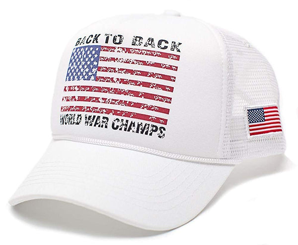 Back To Back World War Champs Unisex-Adult Cap One-Size White/White
