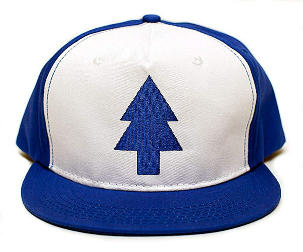 Dipper Flat Hat Blue Pine Tree Embroidered Movie Cap Adult One Size Royal/White