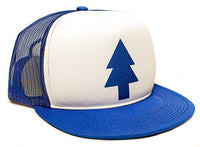 Dipper Flat Printed Hat Blue Pine Tree Movie Cap Adult One-Size Royal/White