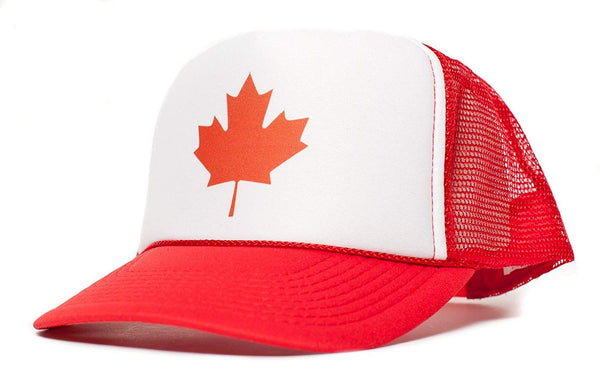 Canadian Canada Maple Leaf Flag Unisex Adult Trucker Cap Hat Red/White