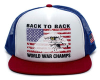 Eagle Back To Back World War Champs Unisex-Adult Cap -One-Size Royal/White/Red Flat