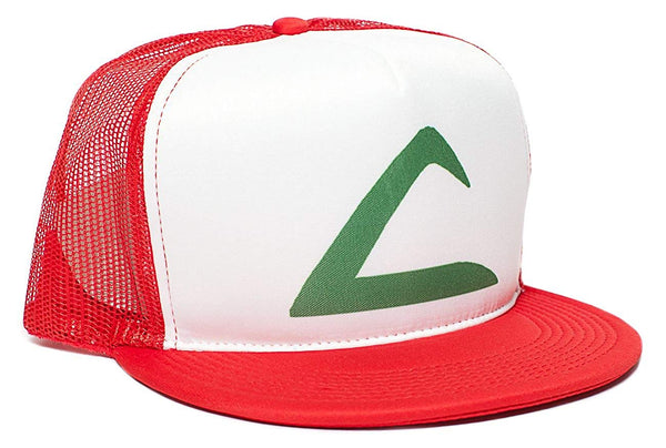 Pokemon Ash Ketchum Flat Unisex-Adult Trucker Hat -One-Size Red/White Printed