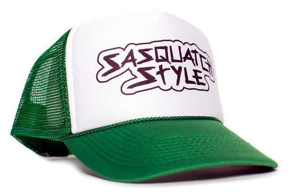 Sasquatch Style Gone Squatchin trucker hat One-Size Unisex Multi Color Selection (Green/White)