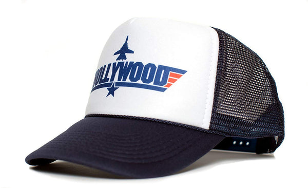 HOLLYWOOD Top Gun Unisex-Adult Trucker Cap Hat -One-Size Multi (Navy/White)