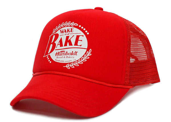 Wake and Bake Humboldt County Funny Adult Truckers Unisex Cap Hat Red
