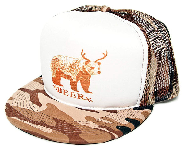 BEE-R Beer Bear Deer Unisex-Adult One-size Trucker Hat Camo/White