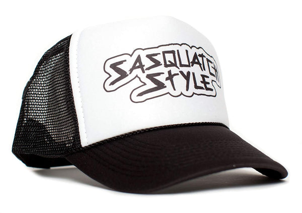 Sasquatch Style Gone Squatchin trucker hat One-Size Unisex Multi Color Selection (Black/White)