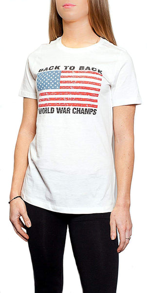 Back To Back World War Champs Champions USA Flag Women's T-Shirt White