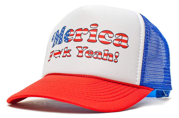 'Merica F Yeah Unisex-Adult Trucker Hat -One-Size Curved Royal/Red