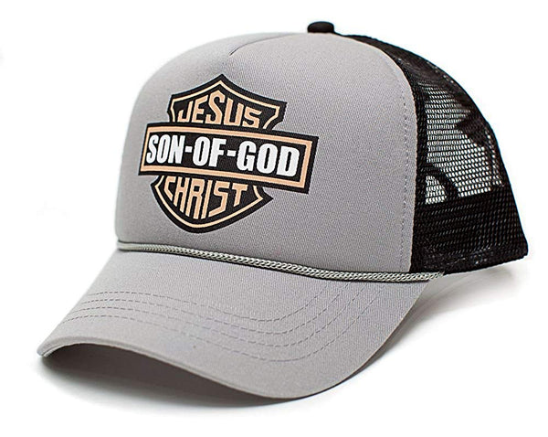 Jesus Christ Son Of God Christian Unisex-Adult Truckers Hat Cap Gray/Black