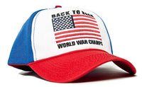 Back To Back World War Champs Embroidered Unisex-Adult Hat -One-Size Red/White/Royal