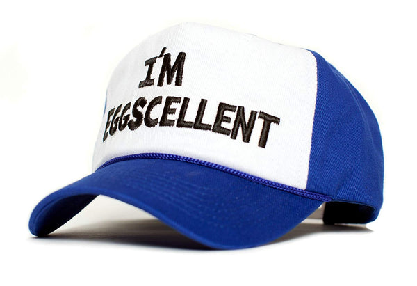I'm Eggscellent Embroidered Cloth & Braid Hat Cap Eggcelent Excellent Roya Curved