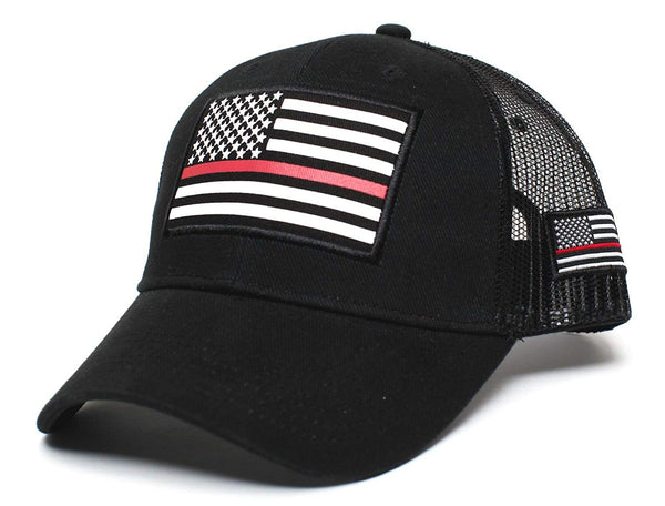 Posse Comitatus Thin RED Line USA Flag Unisex Adult One-Size Cap Hat Black