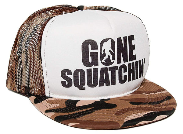 Gone Squatchin' Unisex-Adult One-size Trucker Hat Camo/White