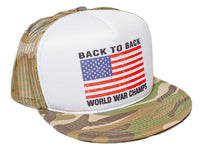 Back To Back World War Champs Flat Bill Unisex-Adult Cap -One-Size