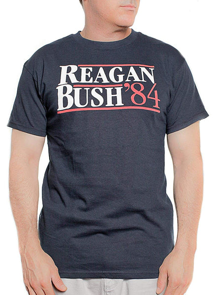 Alstyle Apparel Reagan Bush 84 T-Shirt Conservative Presidential Campaign Shirt Navy