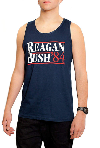 Back To Back World War Champs Reagan Bush 84 Men's Tank Top Presidential Campaign Navy