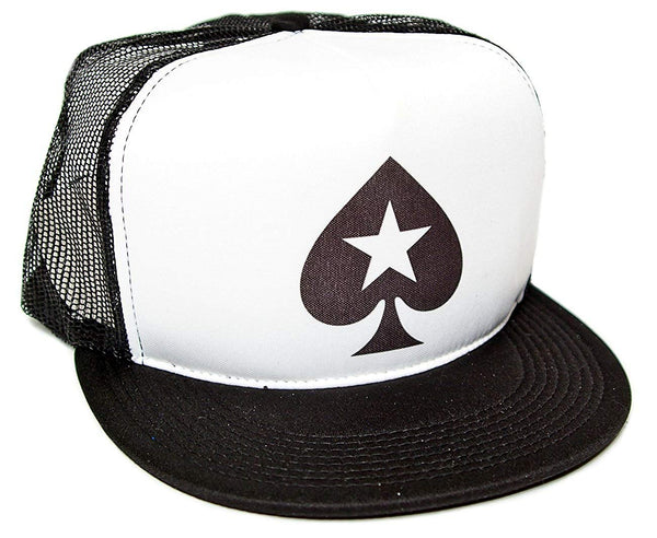 Poker Spade Star Unisex-Adult One-size Trucker Hat Black/White