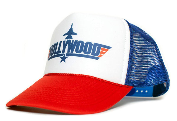 HOLLYWOOD Top Gun Unisex-Adult Trucker Cap Hat -One-Size Multi (Red/White/Royal)