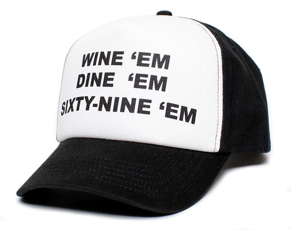 WINE EM DINE EM SIXTY-NINE EM 69 Custom Hat Cap Unisex-Adult One Size Multi