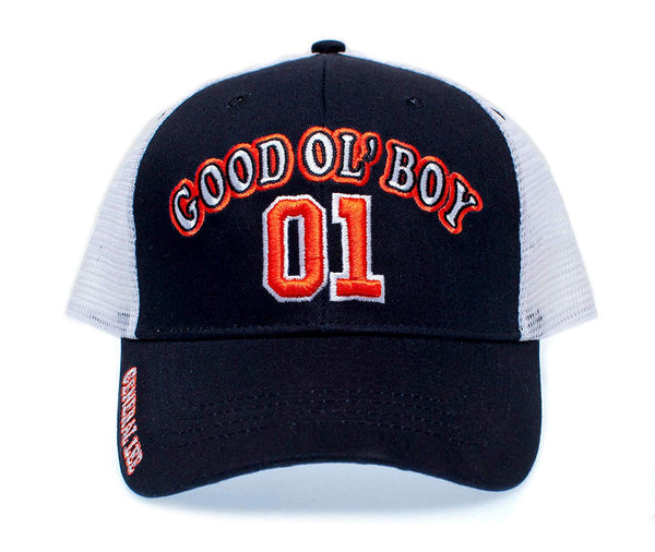 General Lee 01 Truckers Hat Good Ol' Boy Cap Unisex Adult Black/White