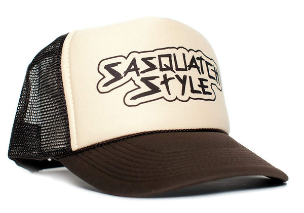 Sasquatch Style Gone Squatchin trucker hat One-Size Unisex Multi Color Selection (Tan/White/Brown)